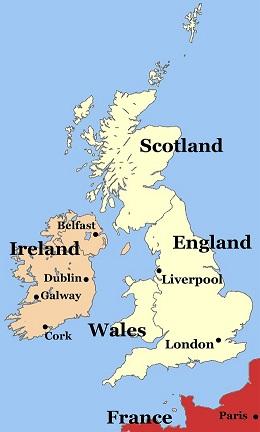 Ireland England map